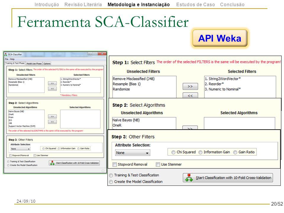 Ferramenta SCA-Classifier 24/09/10 API Weka 20/52 Introdução Revisão Literária Metodologia e Instanciação Estudos de Caso Conclusão