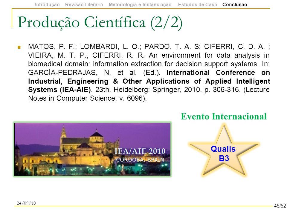 Produção Científica (2/2) MATOS, P. F.; LOMBARDI, L.