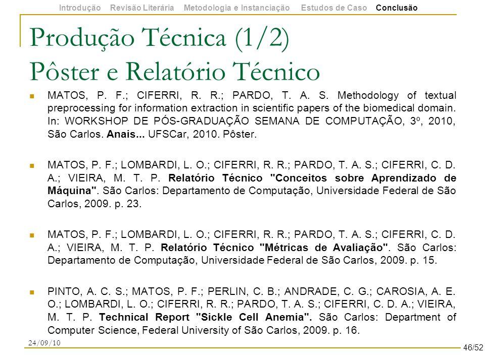 Produção Técnica (1/2) Pôster e Relatório Técnico MATOS, P.
