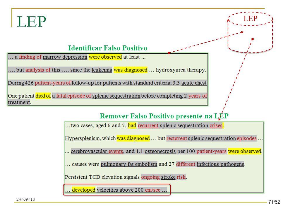 LEP 24/09/10 Identificar Falso Positivo Remover Falso Positivo presente na LEP 71/52