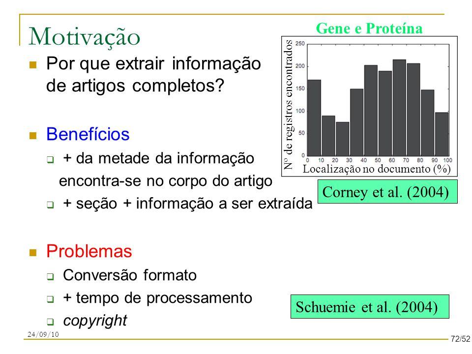 Motivação Localização no documento (%) Nº de registros encontrados Schuemie et al.