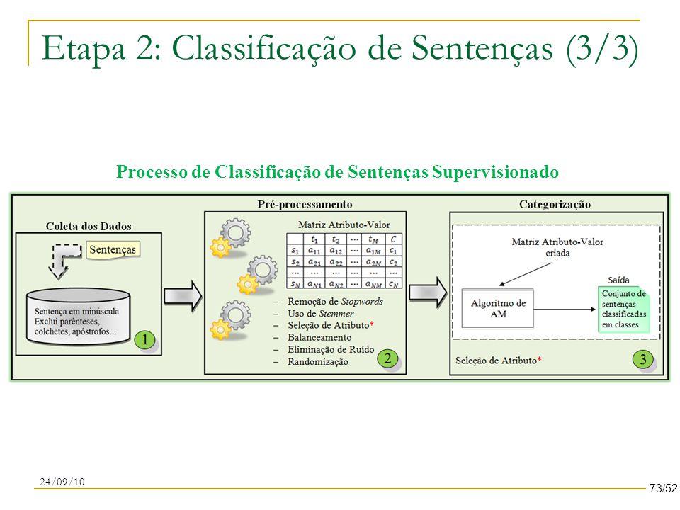 Etapa 2: Classificação de Sentenças (3/3) 24/09/10 Processo de Classificação de Sentenças Supervisionado 73/52