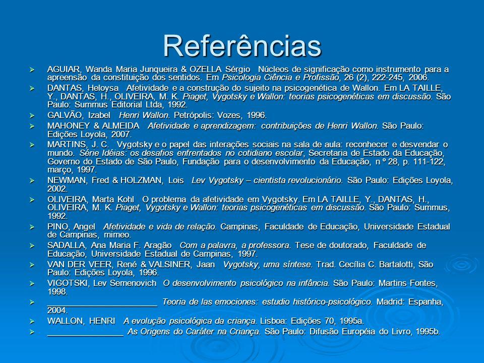 Referências  AGUIAR, Wanda Maria Junqueira & OZELLA Sérgio Núcleos de significação como instrumento para a apreensão da constituição dos sentidos. Em