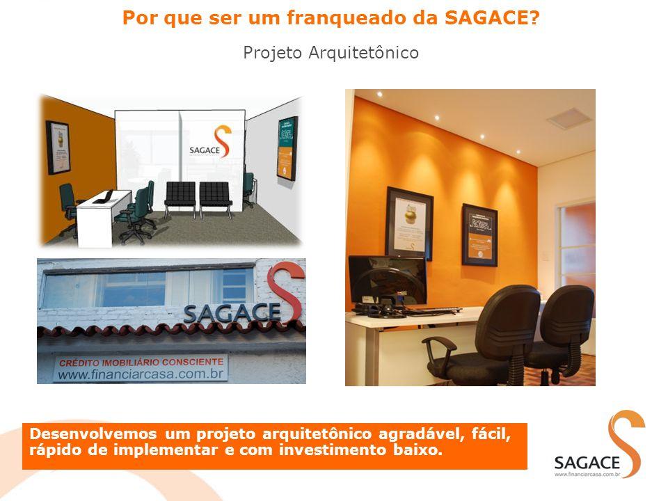 Por que ser um franqueado da SAGACE? Projeto Arquitetônico Desenvolvemos um projeto arquitetônico agradável, fácil, rápido de implementar e com invest