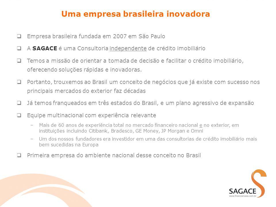 Um conceito de negócios inovador no Brasil Uma consultoria para facilitar o processo de financiamento imobiliário  SAGACE da apoio ao clientes finais PF+PJ que estão no processo de obter um financiamento imobiliário  Apoio na fase de ESCOLHA DO PRODUTO CERTO  Apoio na fase de ACOMPANHAMENTO DO FINANCIAMENTO  SAGACE faz parcerias com os principais agentes financeiros que oferecem financiamento imobiliário  Distribuição aos clientes por meio de rede de consultores/franqueados especialmente e profundamente capacitados Solicitações de financiamento Apoio nos processos Produtos de financiamento Processos Sistema TI Capacitação Marca, website, etc.