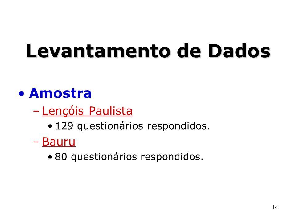 14 Levantamento de Dados Amostra –Lençóis Paulista 129 questionários respondidos. –Bauru 80 questionários respondidos.