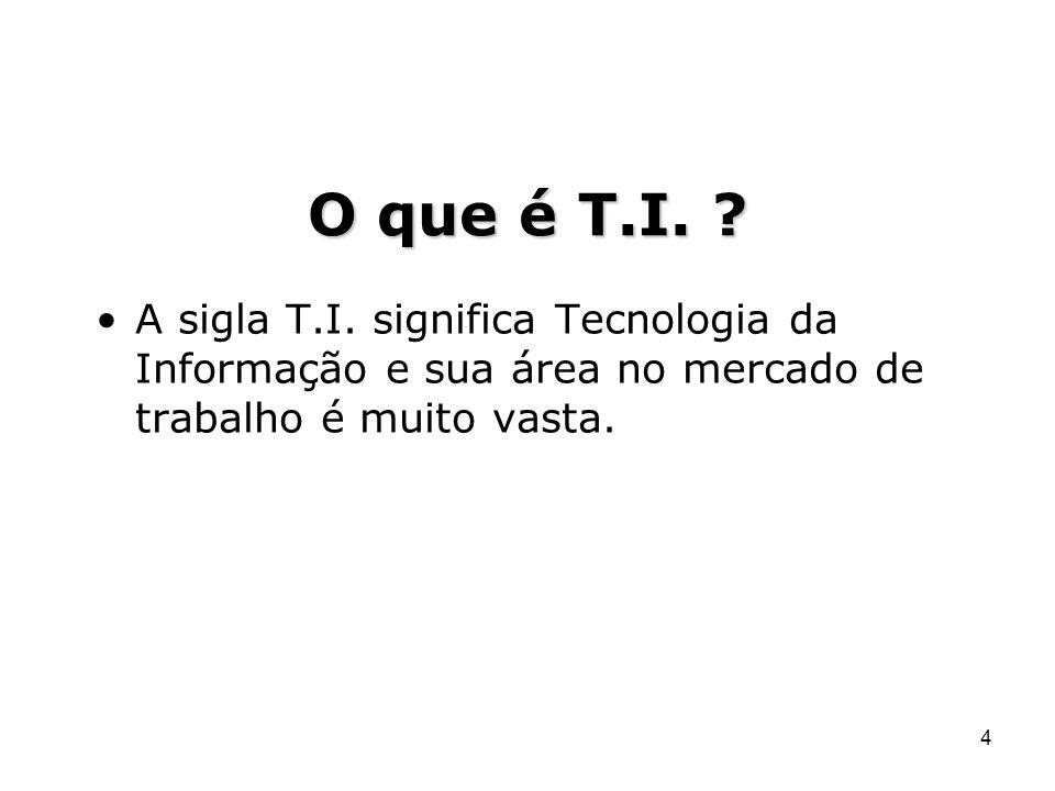 4 A sigla T.I. significa Tecnologia da Informação e sua área no mercado de trabalho é muito vasta.