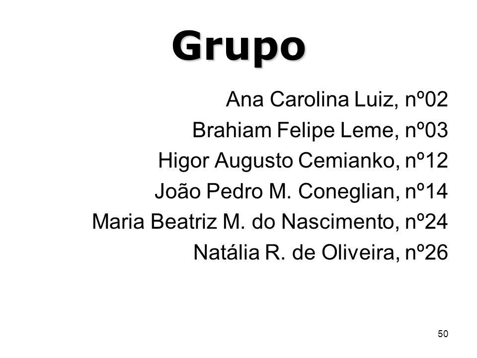 50 Grupo Ana Carolina Luiz, nº02 Brahiam Felipe Leme, nº03 Higor Augusto Cemianko, nº12 João Pedro M. Coneglian, nº14 Maria Beatriz M. do Nascimento,