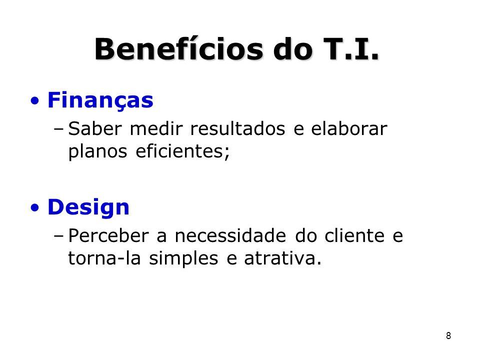 8 Benefícios do T.I. Finanças –Saber medir resultados e elaborar planos eficientes; Design –Perceber a necessidade do cliente e torna-la simples e atr