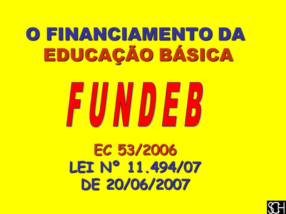 O FINANCIAMENTO DA EDUCAÇÃO BÁSICA EDUCAÇÃO BÁSICA EC 53/2006 LEI Nº 11.494/07 DE 20/06/2007