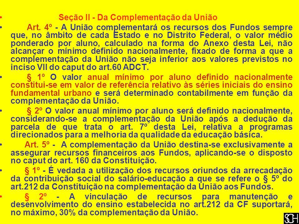 Seção II - Da Complementação da União Art.