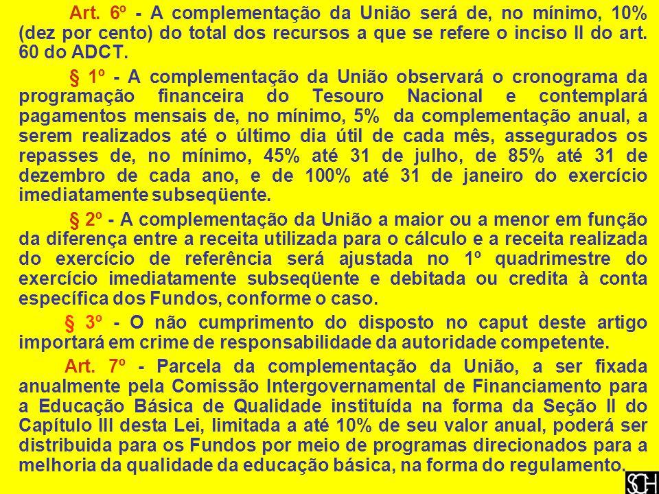 Art. 6º - A complementação da União será de, no mínimo, 10% (dez por cento) do total dos recursos a que se refere o inciso II do art. 60 do ADCT. § 1º