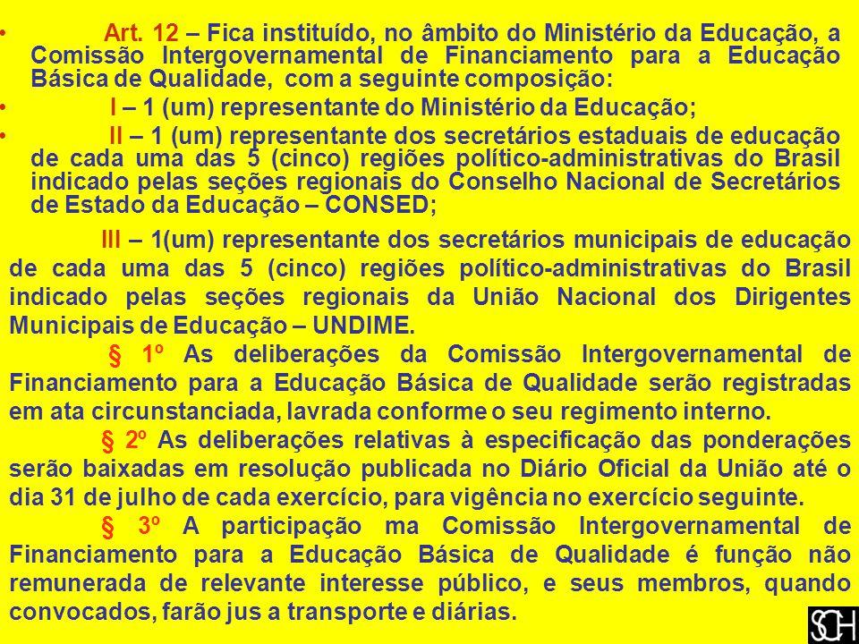 Art. 12 – Fica instituído, no âmbito do Ministério da Educação, a Comissão Intergovernamental de Financiamento para a Educação Básica de Qualidade, co