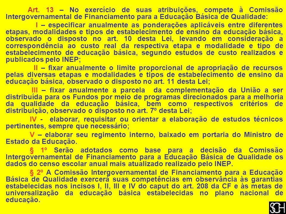 Art. 13 – No exercício de suas atribuições, compete à Comissão Intergovernamental de Financiamento para a Educação Básica de Qualidade: I – especifica