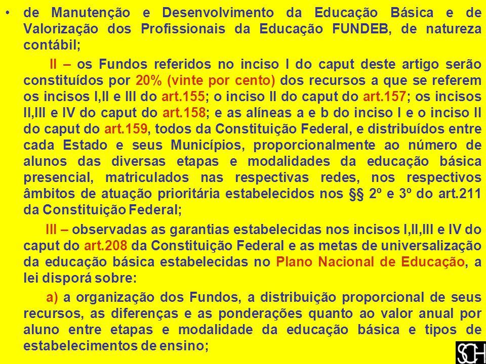 de Manutenção e Desenvolvimento da Educação Básica e de Valorização dos Profissionais da Educação FUNDEB, de natureza contábil; II – os Fundos referidos no inciso I do caput deste artigo serão constituídos por 20% (vinte por cento) dos recursos a que se referem os incisos I,II e III do art.155; o inciso II do caput do art.157; os incisos II,III e IV do caput do art.158; e as alíneas a e b do inciso I e o inciso II do caput do art.159, todos da Constituição Federal, e distribuídos entre cada Estado e seus Municípios, proporcionalmente ao número de alunos das diversas etapas e modalidades da educação básica presencial, matriculados nas respectivas redes, nos respectivos âmbitos de atuação prioritária estabelecidos nos §§ 2º e 3º do art.211 da Constituição Federal; III – observadas as garantias estabelecidas nos incisos I,II,III e IV do caput do art.208 da Constituição Federal e as metas de universalização da educação básica estabelecidas no Plano Nacional de Educação, a lei disporá sobre: a) a organização dos Fundos, a distribuição proporcional de seus recursos, as diferenças e as ponderações quanto ao valor anual por aluno entre etapas e modalidade da educação básica e tipos de estabelecimentos de ensino;