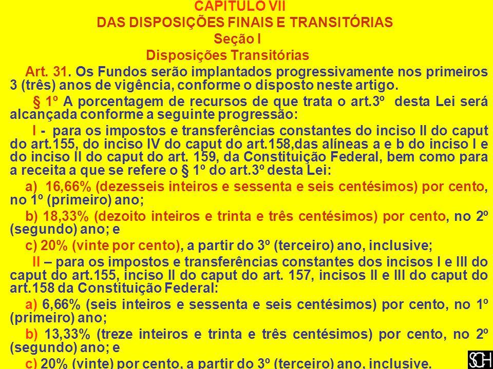 CAPÍTULO VII DAS DISPOSIÇÕES FINAIS E TRANSITÓRIAS Seção I Disposições Transitórias Art.