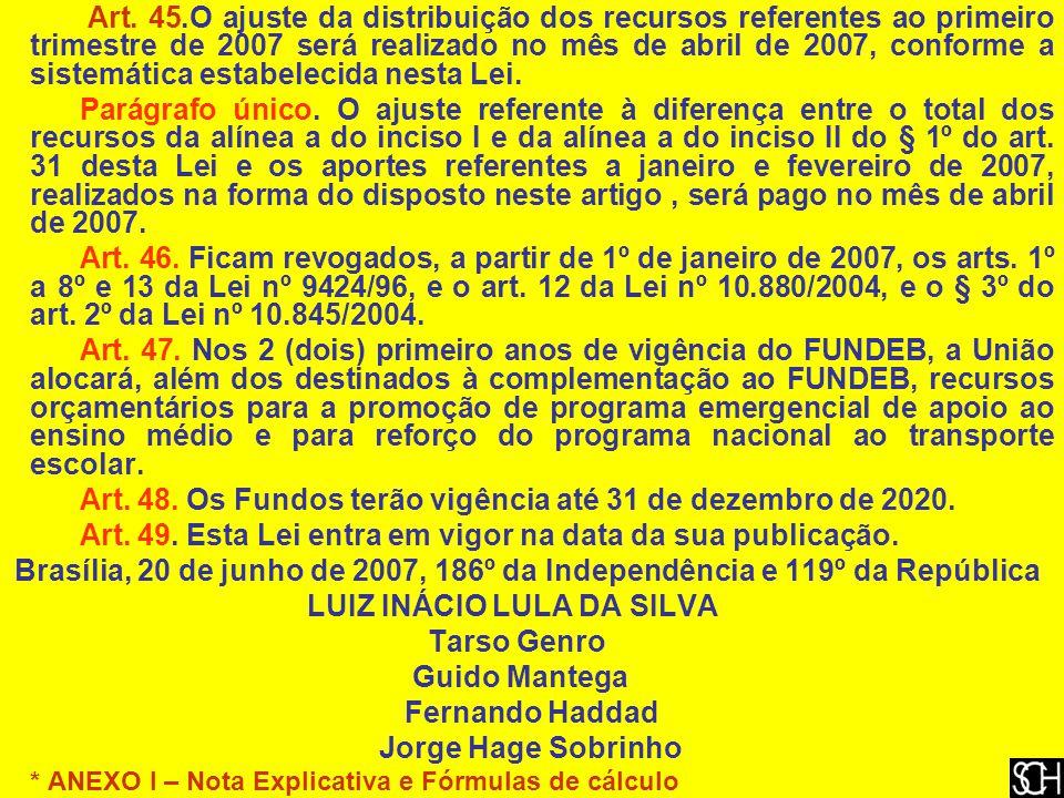 Art. 45.O ajuste da distribuição dos recursos referentes ao primeiro trimestre de 2007 será realizado no mês de abril de 2007, conforme a sistemática