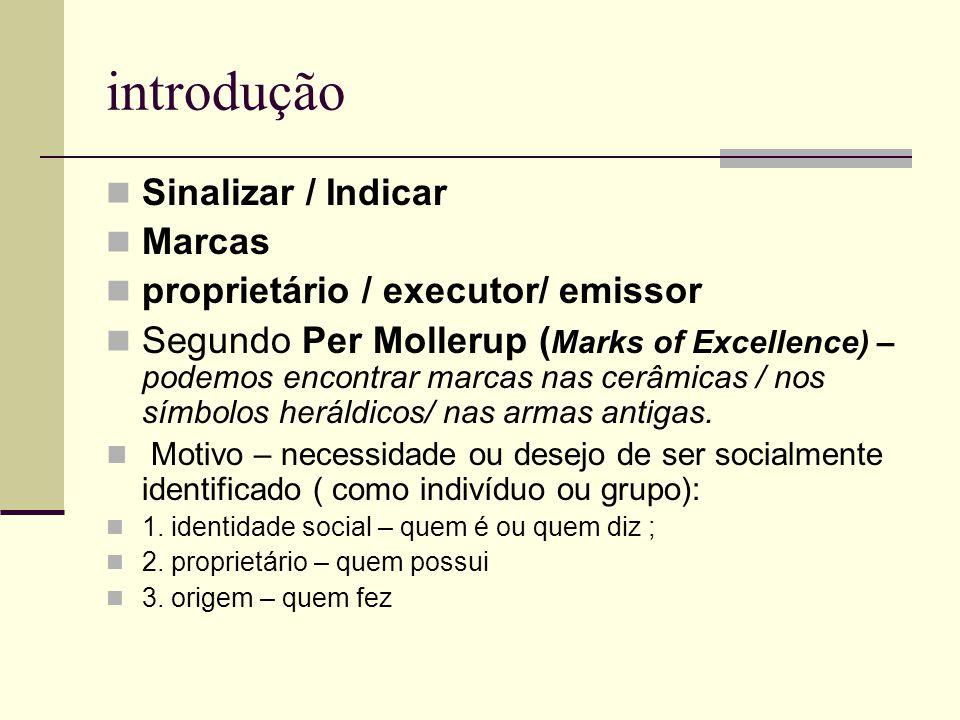 introdução Sinalizar / Indicar Marcas proprietário / executor/ emissor Segundo Per Mollerup ( Marks of Excellence) – podemos encontrar marcas nas cerâ