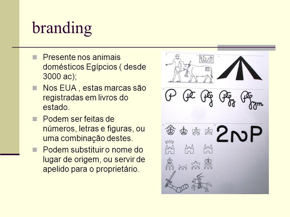 branding Presente nos animais domésticos Egípcios ( desde 3000 ac); Nos EUA, estas marcas são registradas em livros do estado. Podem ser feitas de núm
