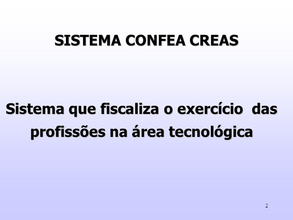 13 REGISTRO NO CREA - PROFISSIONAIS - EMPRESAS - INSTITUIÇÃO DE ENSINO / CURSOS - ENTIDADES DE CLASSE FISCALIZAÇÃO -COIBIR O EXERCÍCIO ILEGAL DAS PROFISSÕES.
