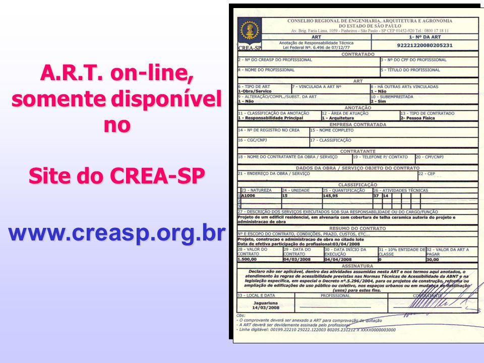 21 A.R.T. on-line, somente disponível no Site do CREA-SP www.creasp.org.br