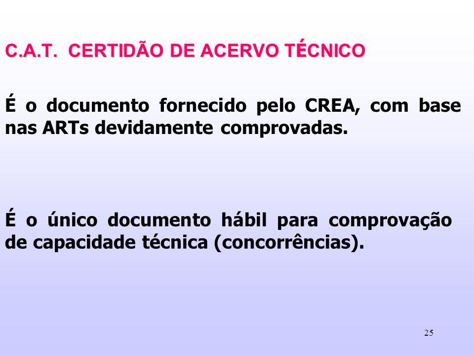 25 C.A.T. CERTIDÃO DE ACERVO T É CNICO É o documento fornecido pelo CREA, com base nas ARTs devidamente comprovadas. É o único documento hábil para co