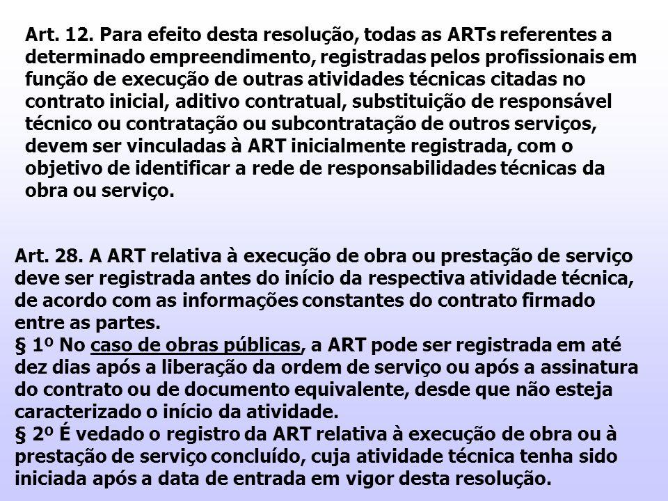 Art. 12. Para efeito desta resolução, todas as ARTs referentes a determinado empreendimento, registradas pelos profissionais em função de execução de