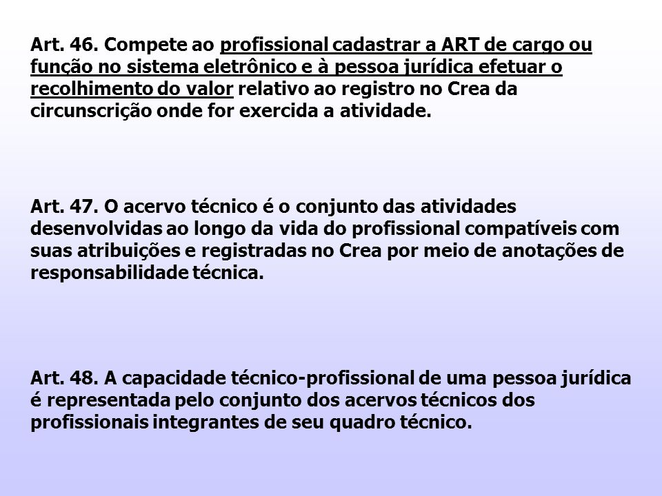 Art. 46. Compete ao profissional cadastrar a ART de cargo ou função no sistema eletrônico e à pessoa jurídica efetuar o recolhimento do valor relativo