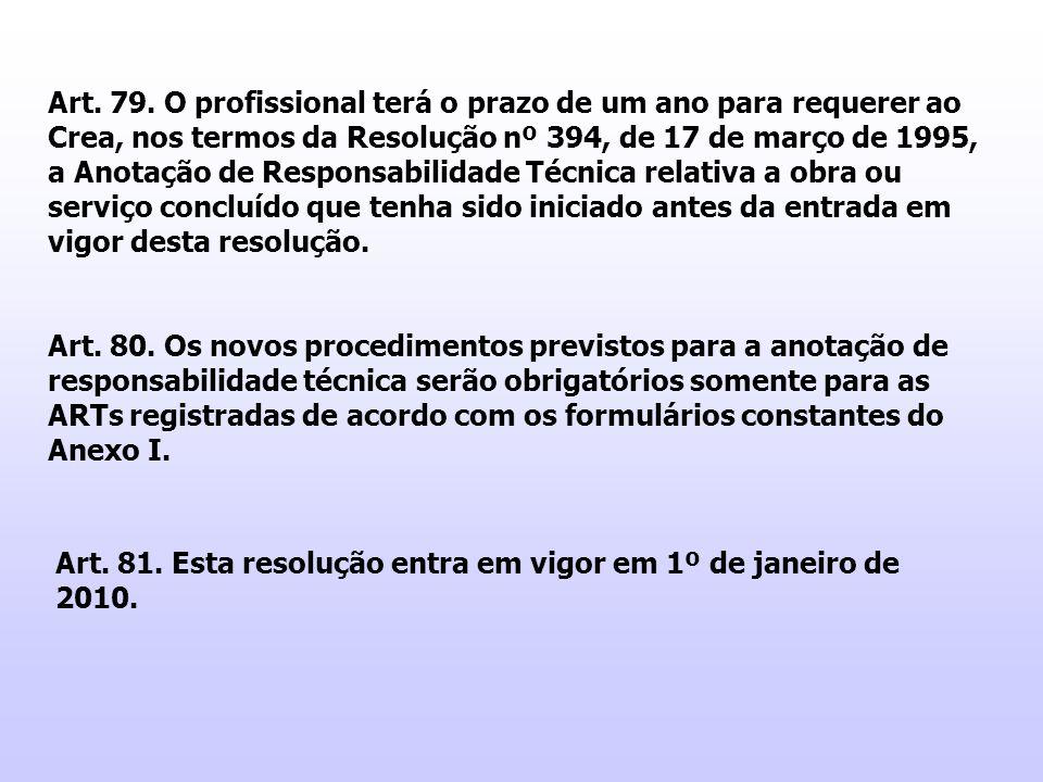 Art. 79. O profissional terá o prazo de um ano para requerer ao Crea, nos termos da Resolução nº 394, de 17 de março de 1995, a Anotação de Responsabi