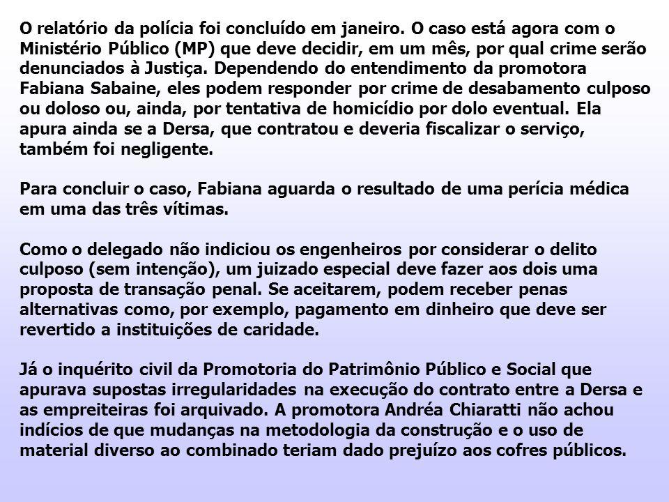 O relatório da polícia foi concluído em janeiro. O caso está agora com o Ministério Público (MP) que deve decidir, em um mês, por qual crime serão den