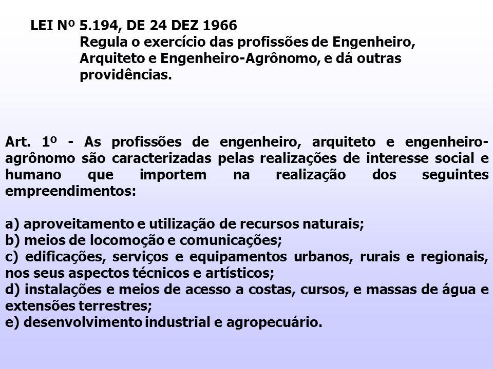 LEI Nº 5.194, DE 24 DEZ 1966 Regula o exercício das profissões de Engenheiro, Arquiteto e Engenheiro-Agrônomo, e dá outras providências. Art. 1º - As