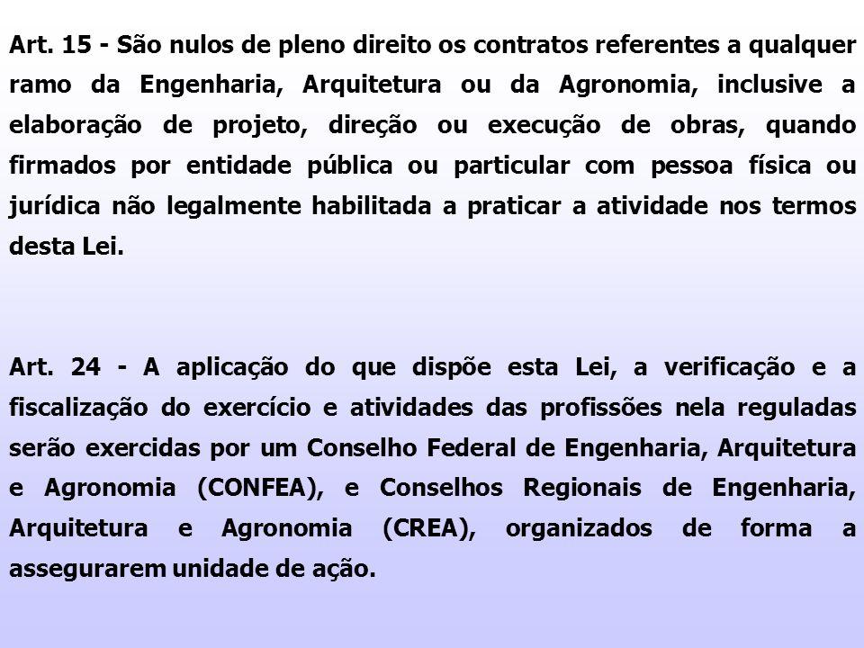Art. 15 - São nulos de pleno direito os contratos referentes a qualquer ramo da Engenharia, Arquitetura ou da Agronomia, inclusive a elaboração de pro