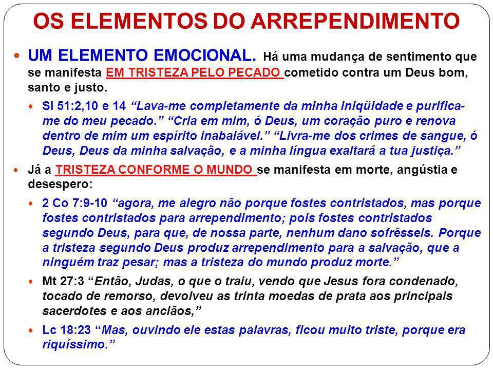 OS ELEMENTOS DO ARREPENDIMENTO UM ELEMENTO DA VONTADE.