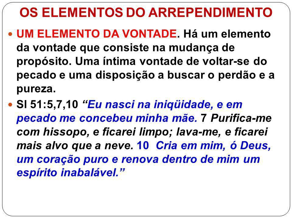 OS ELEMENTOS DO ARREPENDIMENTO ENVOLVE TODO O SER DA PESSOA.