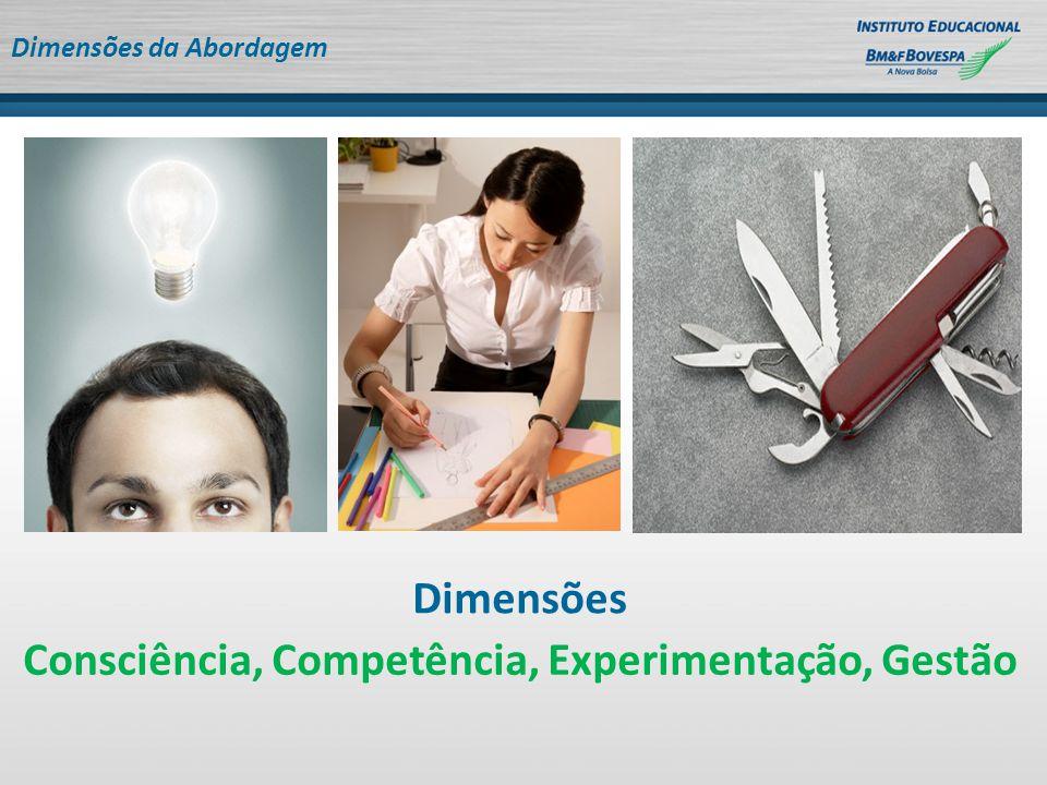 Dimensões da Abordagem Dimensões Consciência, Competência, Experimentação, Gestão