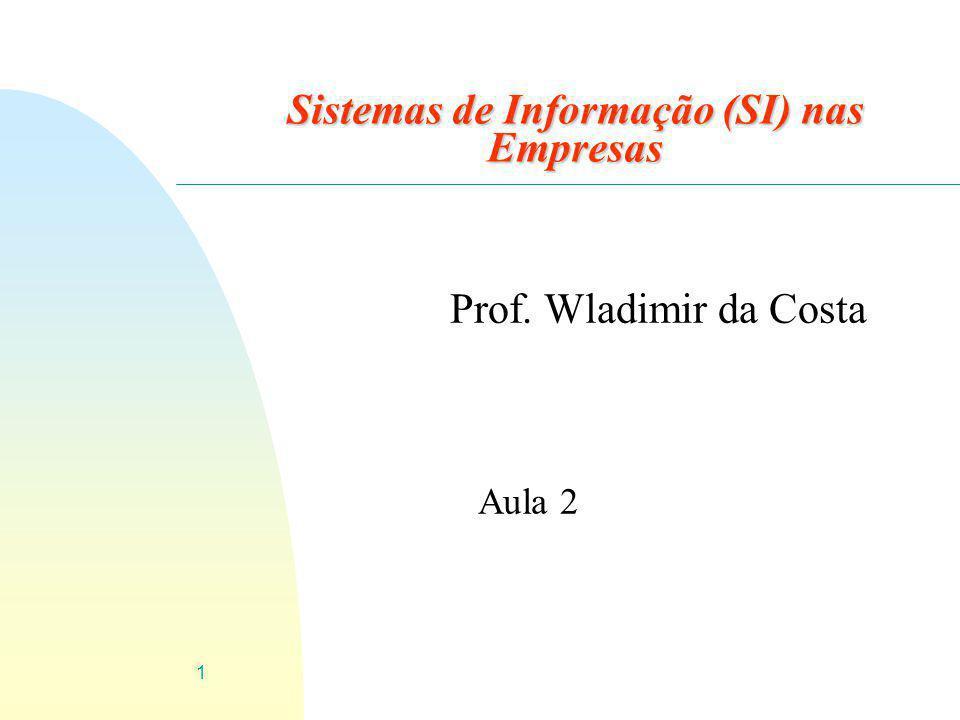 1 Sistemas de Informação (SI) nas Empresas Prof. Wladimir da Costa Aula 2