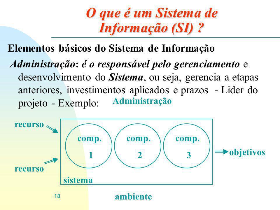 18 O que é um Sistema de Informação (SI) ? Elementos básicos do Sistema de Informação Administração : é o responsável pelo gerenciamento e desenvolvim