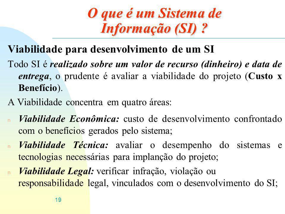 19 O que é um Sistema de Informação (SI) ? Viabilidade para desenvolvimento de um SI Todo SI é realizado sobre um valor de recurso (dinheiro) e data d