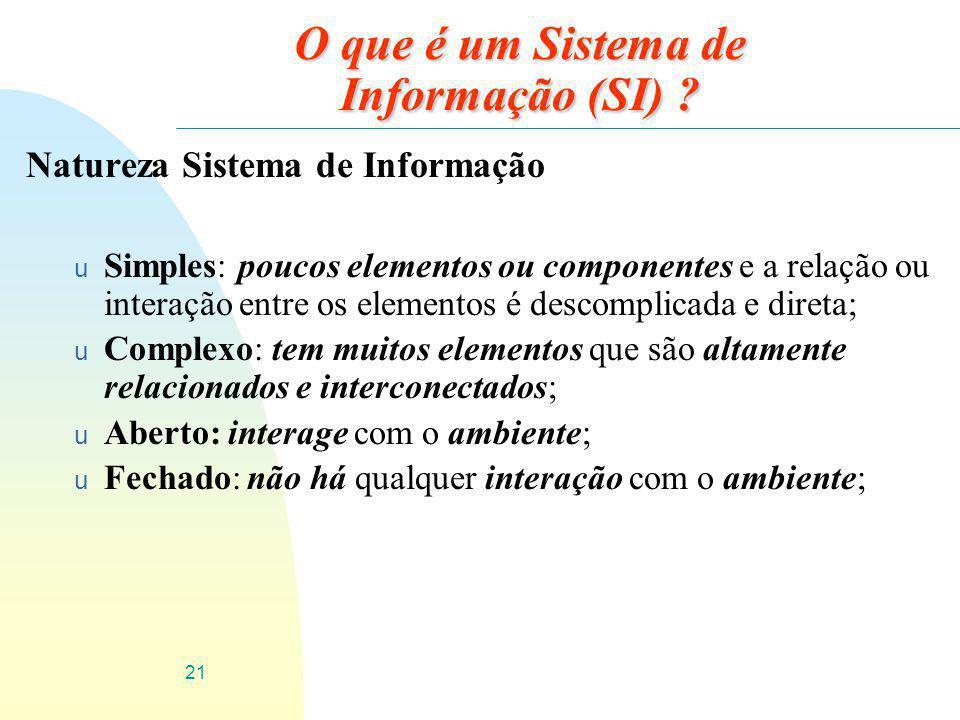 21 O que é um Sistema de Informação (SI) ? Natureza Sistema de Informação u Simples: poucos elementos ou componentes e a relação ou interação entre os
