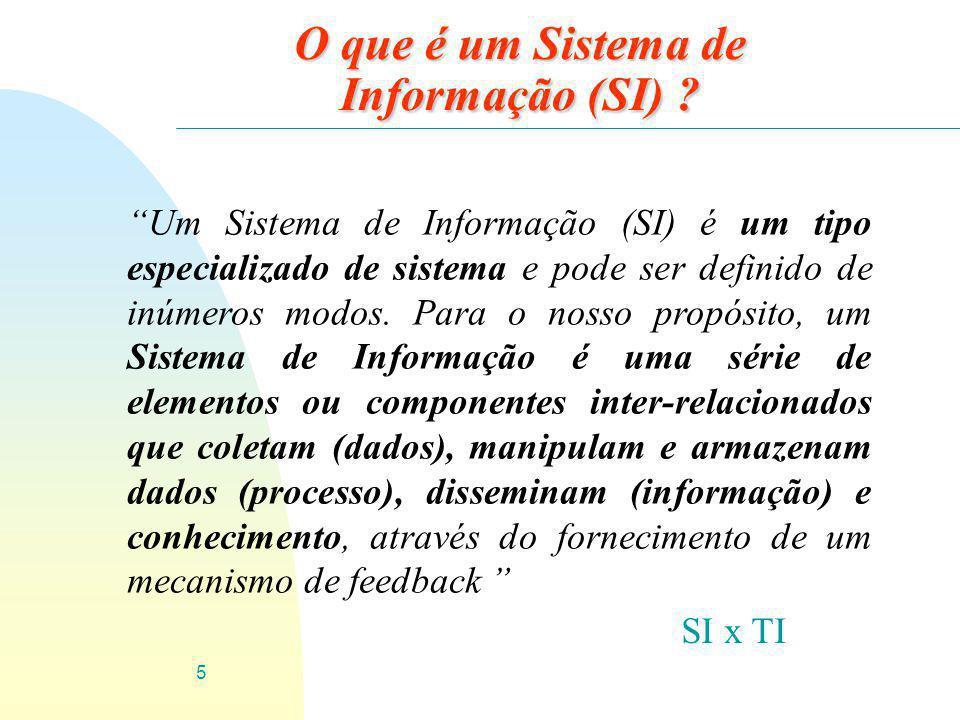 """5 O que é um Sistema de Informação (SI) ? """"Um Sistema de Informação (SI) é um tipo especializado de sistema e pode ser definido de inúmeros modos. Par"""