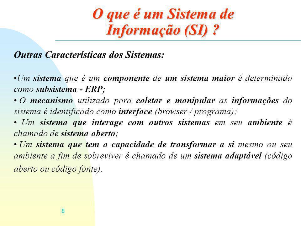 8 O que é um Sistema de Informação (SI) ? Outras Características dos Sistemas: Um sistema que é um componente de um sistema maior é determinado como s