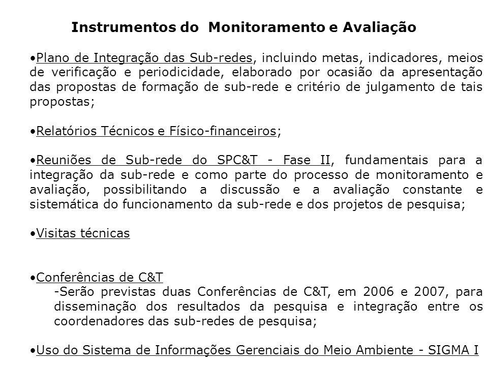 Instrumentos do Monitoramento e Avaliação Plano de Integração das Sub-redes, incluindo metas, indicadores, meios de verificação e periodicidade, elaborado por ocasião da apresentação das propostas de formação de sub-rede e critério de julgamento de tais propostas; Relatórios Técnicos e Físico-financeiros; Reuniões de Sub-rede do SPC&T - Fase II, fundamentais para a integração da sub-rede e como parte do processo de monitoramento e avaliação, possibilitando a discussão e a avaliação constante e sistemática do funcionamento da sub-rede e dos projetos de pesquisa; Visitas técnicas Conferências de C&T -Serão previstas duas Conferências de C&T, em 2006 e 2007, para disseminação dos resultados da pesquisa e integração entre os coordenadores das sub-redes de pesquisa; Uso do Sistema de Informações Gerenciais do Meio Ambiente - SIGMA I
