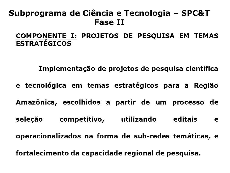 Subprograma de Ciência e Tecnologia – SPC&T Fase II COMPONENTE I: PROJETOS DE PESQUISA EM TEMAS ESTRATÉGICOS Implementação de projetos de pesquisa científica e tecnológica em temas estratégicos para a Região Amazônica, escolhidos a partir de um processo de seleção competitivo, utilizando editais e operacionalizados na forma de sub-redes temáticas, e fortalecimento da capacidade regional de pesquisa.