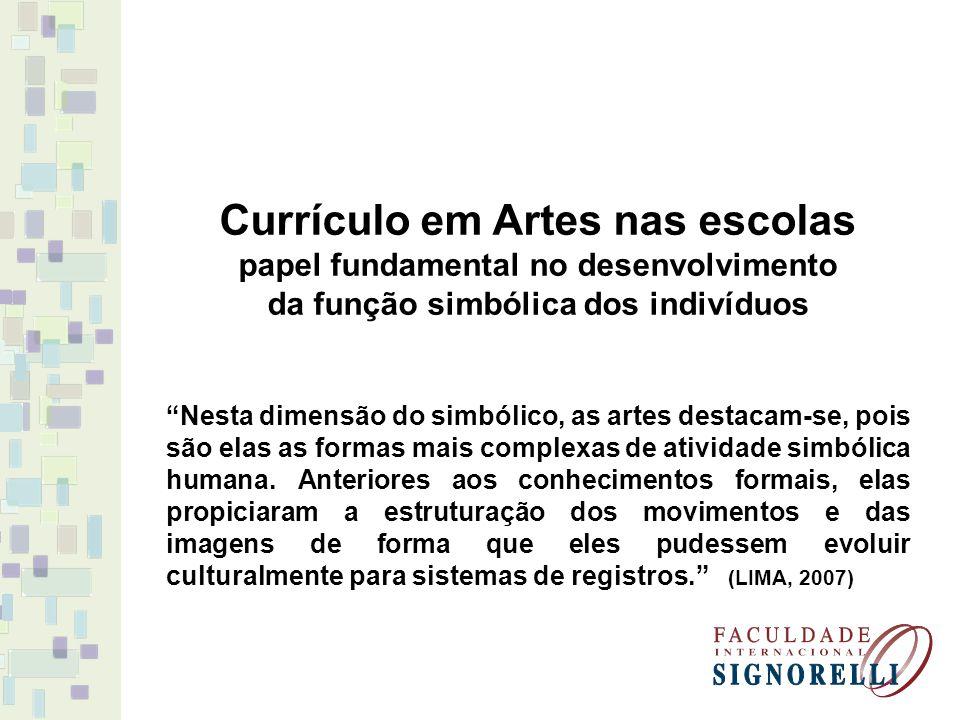 """Currículo em Artes nas escolas papel fundamental no desenvolvimento da função simbólica dos indivíduos """"Nesta dimensão do simbólico, as artes destacam"""