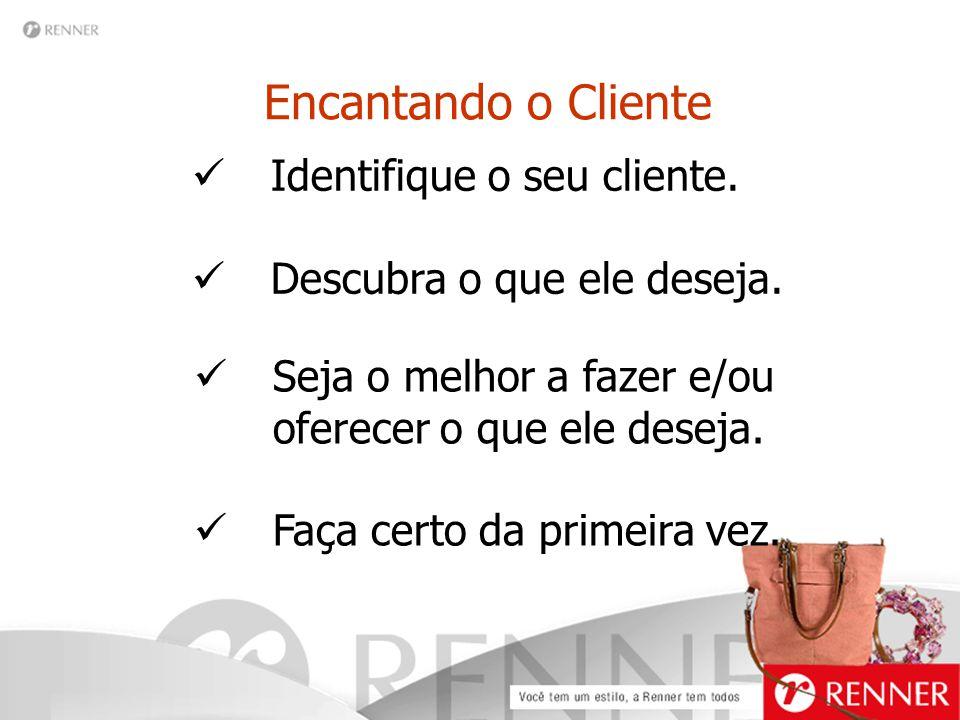 Encantando o Cliente Identifique o seu cliente. Descubra o que ele deseja. Seja o melhor a fazer e/ou oferecer o que ele deseja. Faça certo da primeir