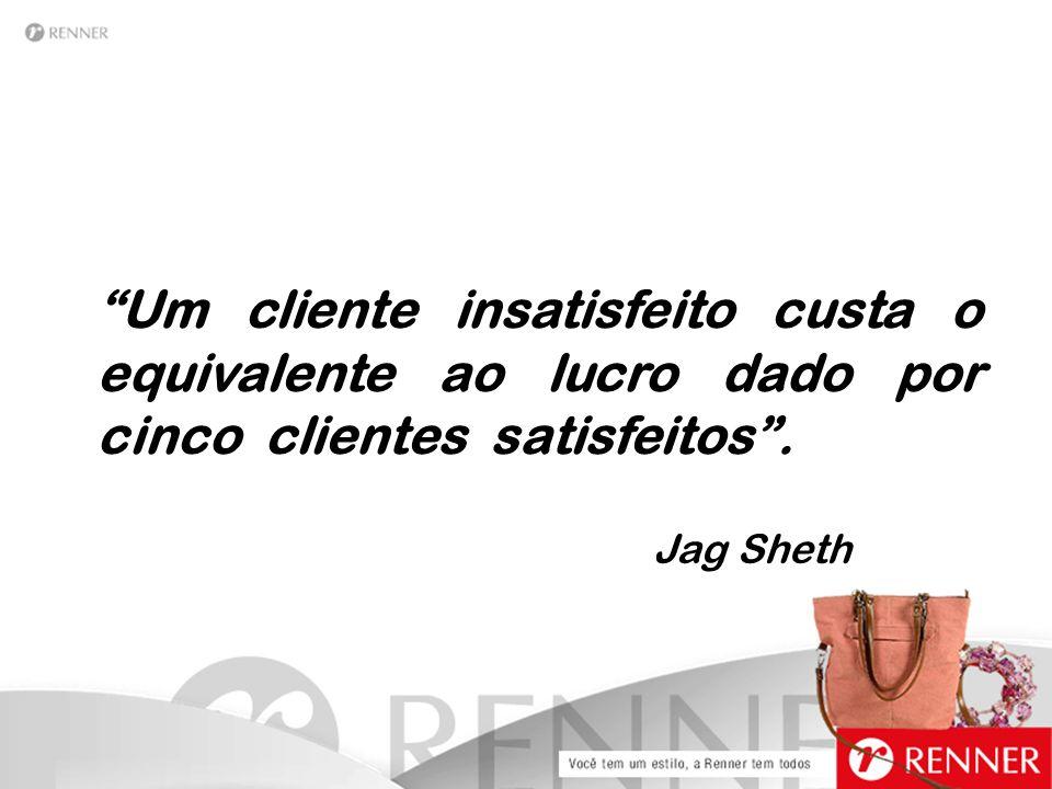 """""""Um cliente insatisfeito custa o equivalente ao lucro dado por cinco clientes satisfeitos"""". Jag Sheth"""
