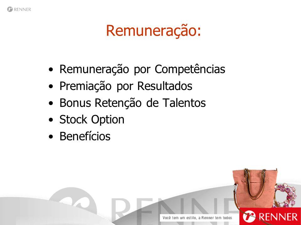 Remuneração: Remuneração por Competências Premiação por Resultados Bonus Retenção de Talentos Stock Option Benefícios