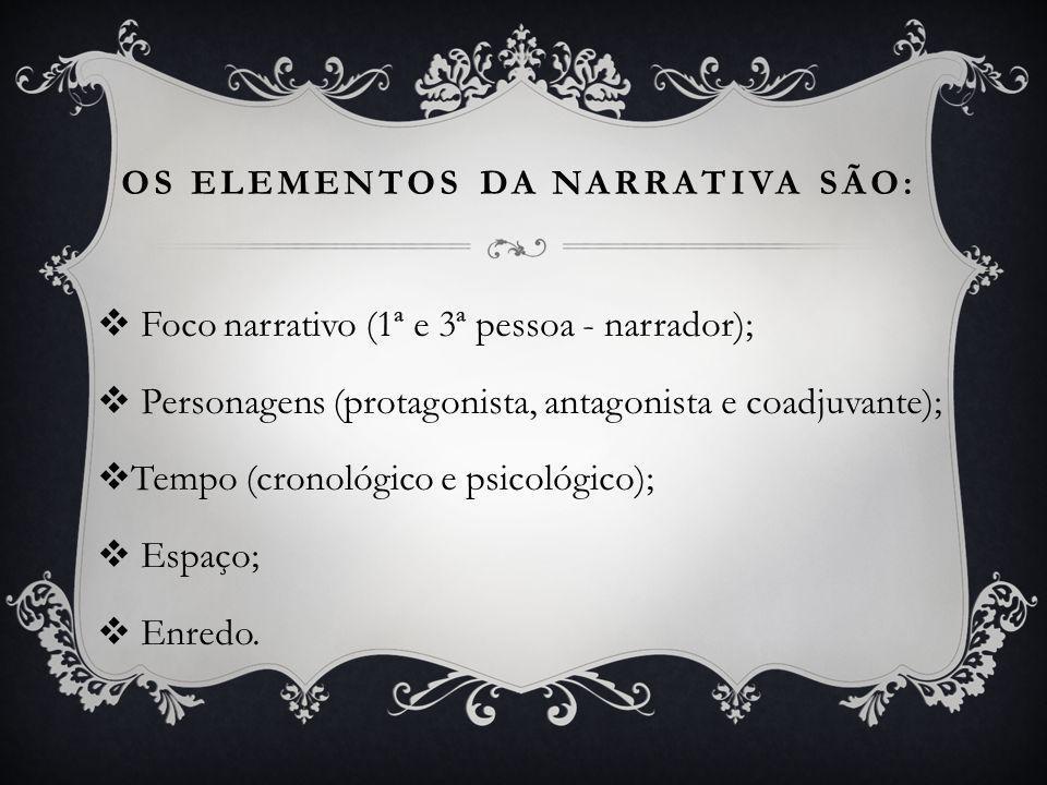 OS ELEMENTOS DA NARRATIVA SÃO:  Foco narrativo (1ª e 3ª pessoa - narrador);  Personagens (protagonista, antagonista e coadjuvante);  Tempo (cronológico e psicológico);  Espaço;  Enredo.