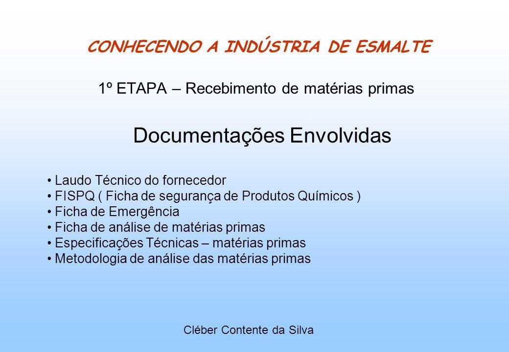 CONHECENDO A INDÚSTRIA DE ESMALTE 1º ETAPA – Recebimento de matérias primas Documentações Envolvidas Laudo Técnico do fornecedor FISPQ ( Ficha de segu