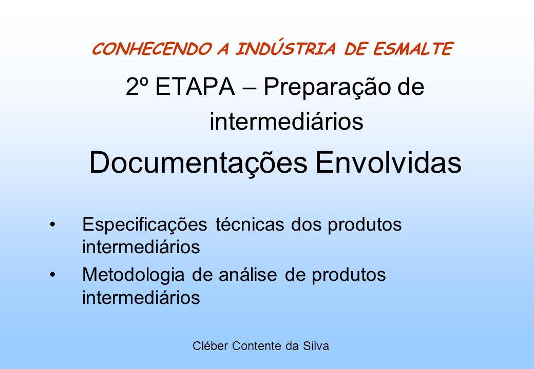 CONHECENDO A INDÚSTRIA DE ESMALTE 2º ETAPA – Preparação de intermediários Documentações Envolvidas Especificações técnicas dos produtos intermediários